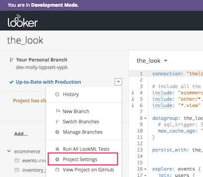 LookML drop-down menu with Project Settings selected