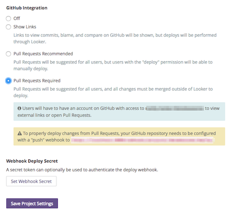 GitHub Integration section of settings screen with Pull Requests Required selected