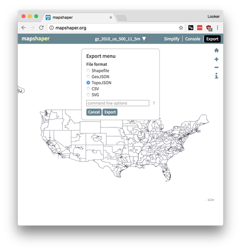Converting Shapefiles to TopoJSON – Looker Help Center